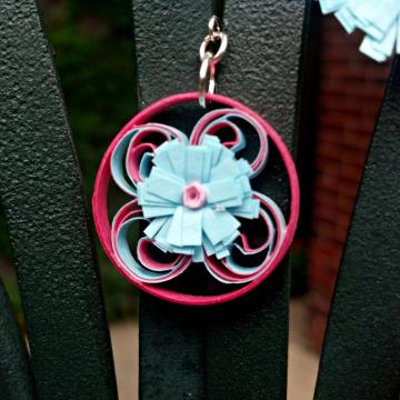 pink filigree, blue flower earrings, paper quilling earrings, gift for her