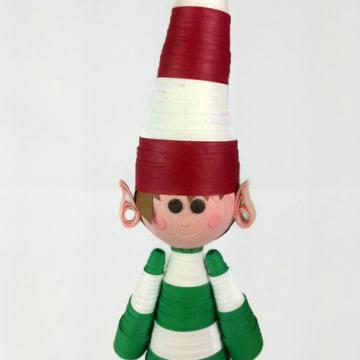 elf Christmas ornament, quilling elf ornament, handmade elf ornament