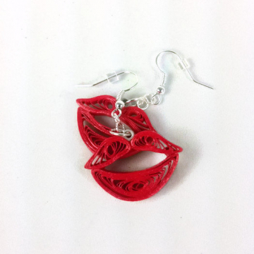 kiss earrings, red lips earrings, red kiss earrings, paper quilled earrings