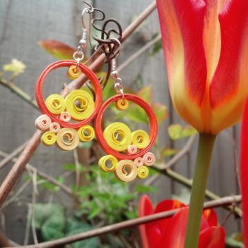 paper quill earrings, funky earrings, orange boho earrings, yellow boho earrings