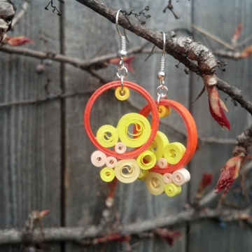 orange and yellow earrings, bohemian dangle earrings, funky orange earrings