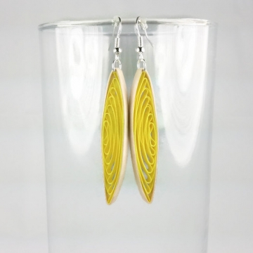yellow eco friendly earrings, eco friendly paper earrings, long yellow earrings