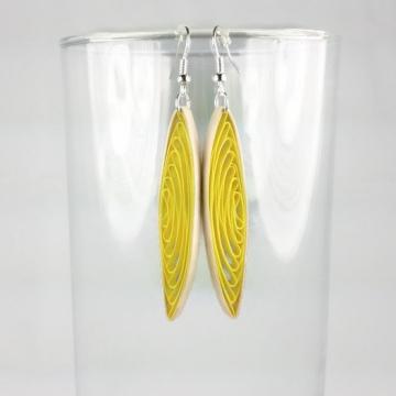 yellow eco friendly earrings, eco friendly paper earrings, long yellow earrings