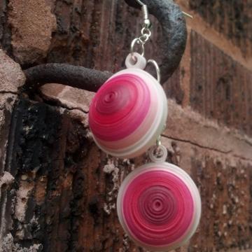eco friendly earrings, paper quilling earrings, dome earring, paper dome earring