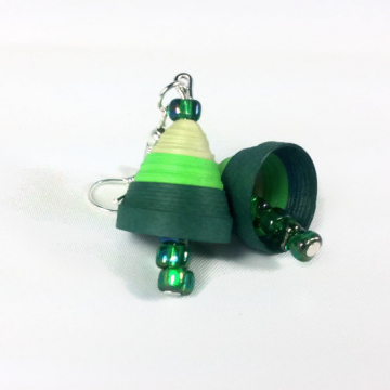 quilling jhumka, green jhumka, green earrings, quilling tutorial, green bells