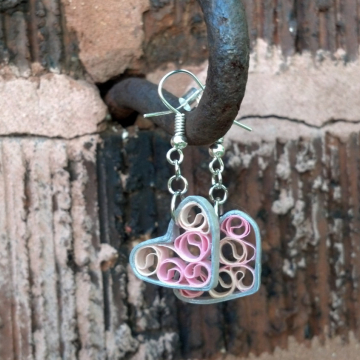silver and pink hearts, paper quilling earrings, paper quilled jewelry, eco chic