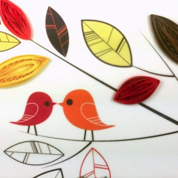 quilling art, love birds print, love birds art, love birds on canvas, love birds