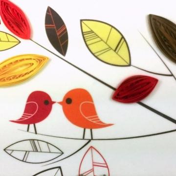 quilling art, love birds print, love birds art, love birds on canvas, love birds
