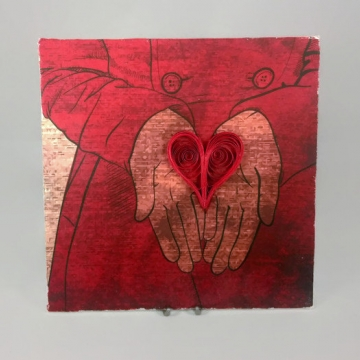 heart in hand, paper quilling art, carry your heart, give you my heart