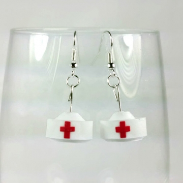 nurse hat earrings, paper gift, gift for nurse, nurse gift, nurse earrings