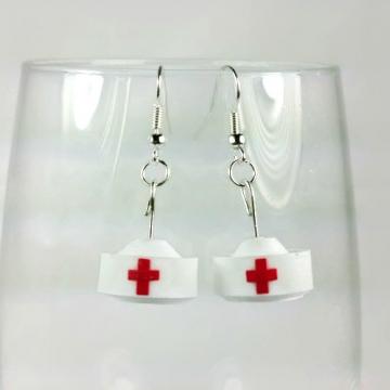 nurse hat earrings, paper gift, gift for nurse, nurse gift, nurse earrings