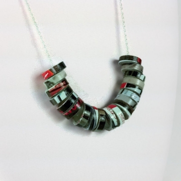 Recycled Paper Rings, Eco Necklace, paper necklace, recycled jewelry, eco chic