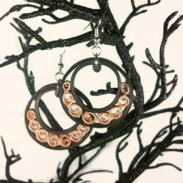 paper quilling earrings, brown earrings, brown hoops, paper hoop earrings