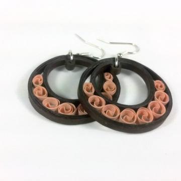 brown crescent moon hoop earring, crescent hoops, paper quill brown hoop earring