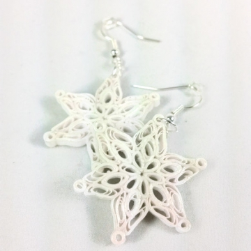 quilled snowflake earrings, Christmas earrings, paper quilling earrings