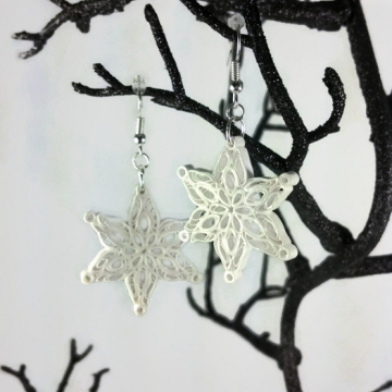 Christmas jewelry, quilled Christmas, Christmas snowflake, frozen earrings