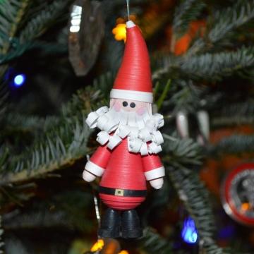 Santa Christmas ornament, paper quilling ornament, Santa ornament