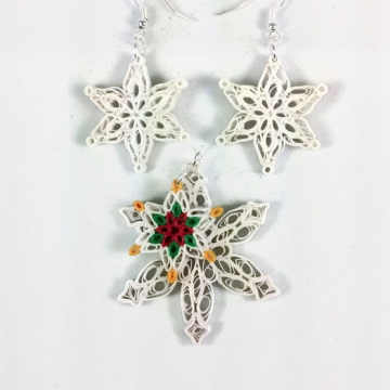 paper quilled snowflakes jewelry set, snowflake necklace, snowflake earrings
