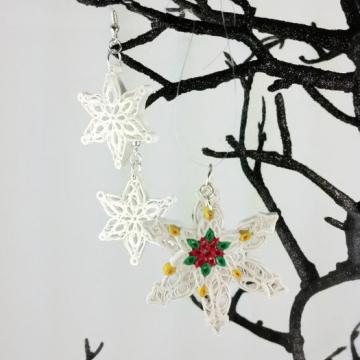 snowflake pendant, Christmas jewelry set, Christmas snowflakes, frozen jewelry