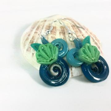 Seashell Jewelry, seashell earrings, paper earrings, beach earrings, beach style