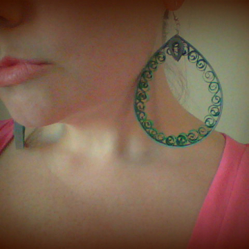 huge earrings, oversized earrings, green hoop earrings, green earrings