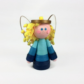 paper quilled angel tree topper, paper quilling angel, angel tree topper