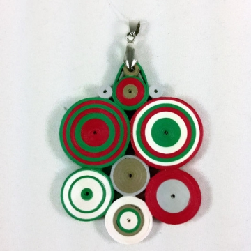 Christmas necklace, quilling Christmas pendant, paper quilling jewelry