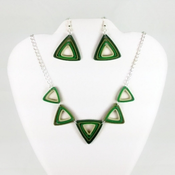 triangle jewelry set, paper quilling jewelry, paper jewelry, mod jewelry