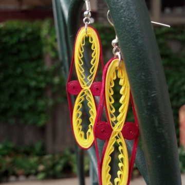 long tribal earrings, paper quilled earrings, tribal earrings, ethnic earrings