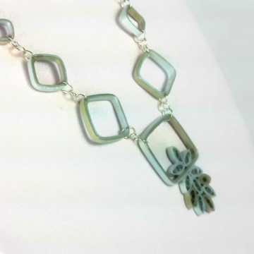 geometric squares mixed metal paper necklace, eco friendly jewelry, ecochic