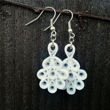 paper bridal earrings, wedding jewelry, bride earrings, white dangle earrings