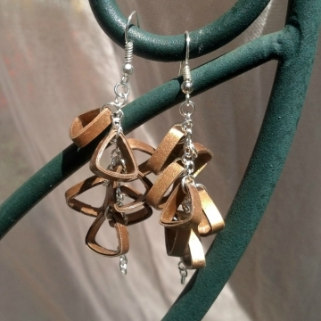 gold triangle cluster earrings, handmade earrings, paper quilled earrings, paper