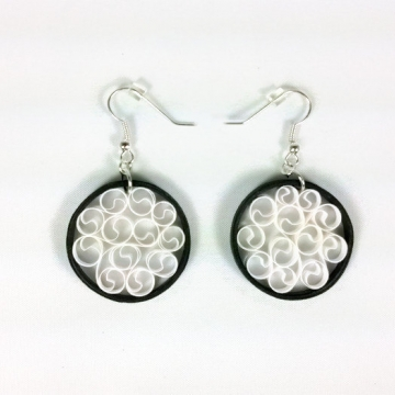 black and white earrings, paper quilling earrings, paper filigree earrings