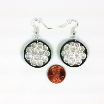 small earrings, round black earrings, paper anniversary gift, white filigree