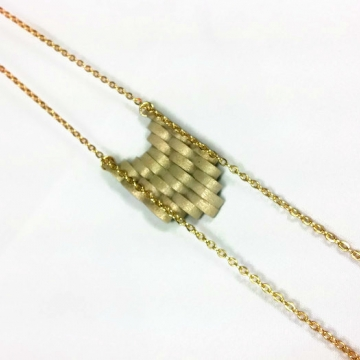 gold chevron pendant, boho necklace, long gold necklace, paper quill necklace