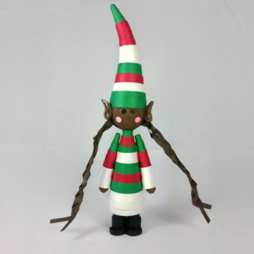 brown elf ornament, black elf, Christmas ornament, African American, quilled elf