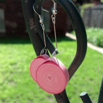 pink dangle earrings, paper quilling jewelry, chunky drop earrings, pink earring