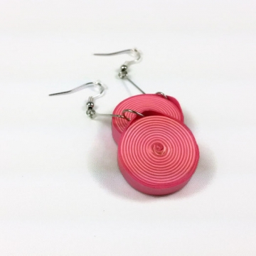 chunky pink earring, dangle disc earring, paper quilling earrings, paper earring