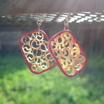 paper quilled earrings, dangle rectangles, small rectangle earrings