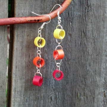 ombre paper dangle chain earrings, dangle chain earrings, paper quilled earrings