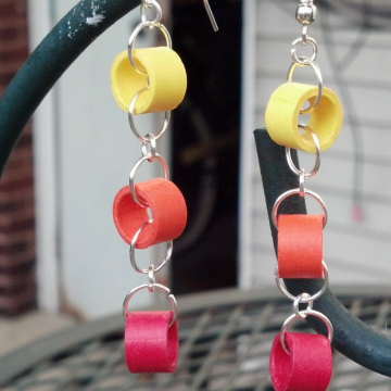 paper quilling jewelry, ombre earrings, paper rings, paper circles, warm colors