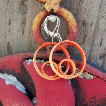 small orange hoops, orange hoop earrings, small hoop earrings, orange hoops