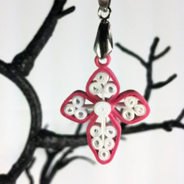 quilled cross pendant, Christian jewelry, religious pendant, custom cross