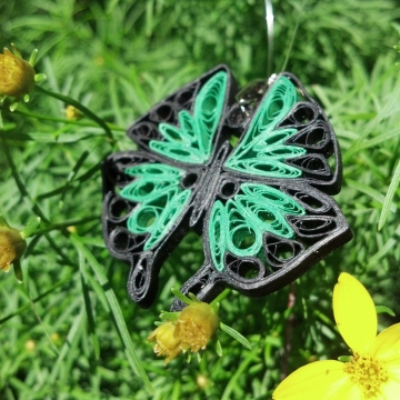 green paper quilled butterfly pendant, paper quilling jewelry, large butterfly