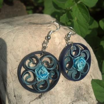 navy blue filigree earrings, round earrings, small earrings, something blue