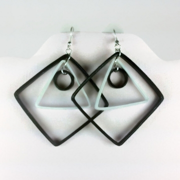 modern earrings, black and white earrings, geometric earrings, eco chic earrings