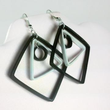 white and black earrings, large diamond shaped earrings, paper quilling earrings