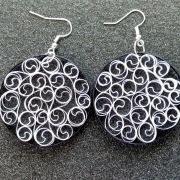 black and white earrings, filigree earrings, black and white filigree, eco chic
