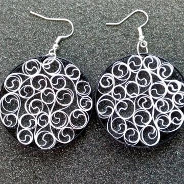 black and white earrings, filigree earrings, black and white filigree, eco chic