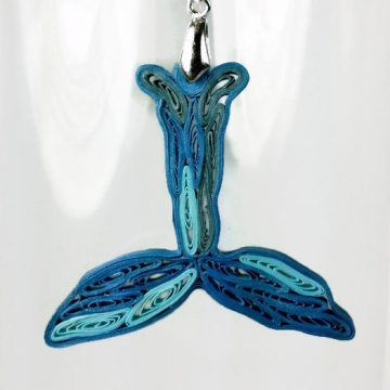 whale tail paper quilled pendant, whale pendant, blue whale jewelry, whale tail